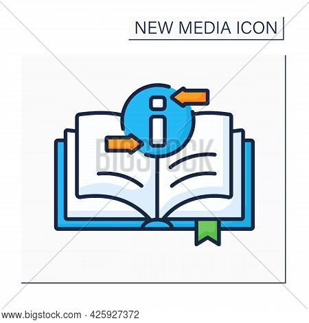 Book Color Icon. Recording Information Medium. Printed Sheets Of Paper. Information Space. Different
