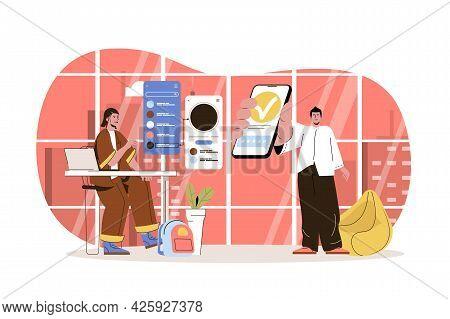 App Development Web Character Concept. Development Team Creates Interface, Develops And Optimizes Mo