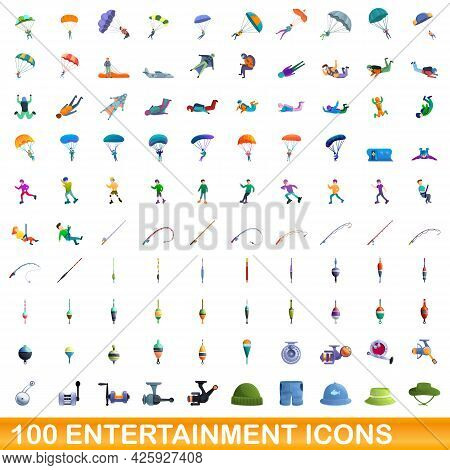 100 Entertainment Icons Set. Cartoon Illustration Of 100 Entertainment Icons Vector Set Isolated On