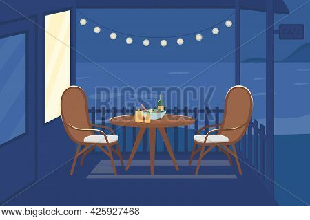 Romantic Night At Cafe Flat Color Vector Illustration. Table For Couple To Eat Dinner At Evening Dat