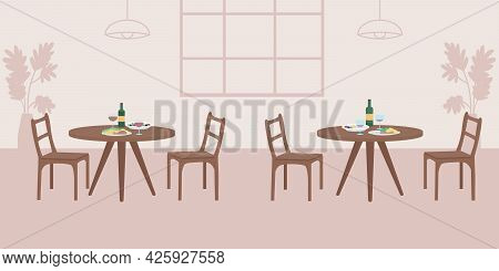Empty Cafe Flat Color Vector Illustration. Two Tables With Dinner For Couples. Lunch For Friends. Pu