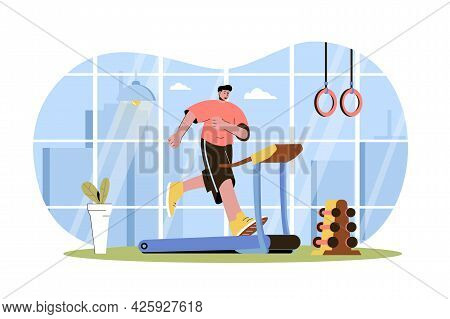 Fitness Web Character Concept. Man Running On Treadmill. Athlete Doing Cardio Workout In Gym, Sport