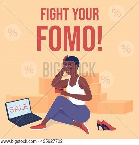 Shopaholism Social Media Post Mockup. Fight Your Fomo Phrase. Web Banner Design Template. Obsessive
