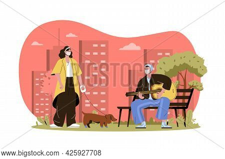Masked People Web Character Concept. Woman In Mask Walking Dog, Man Plays Guitar In Park. Preventing
