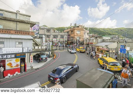 New Taipei City, Taiwan - August 7, 2018 : Street View Of Jiufen With Crowd Of Vehicles And Tourists
