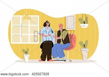 Pregnancy Web Character Concept. Husband Touches Belly Of Pregnant Wife. Young Mom And Dad Together,
