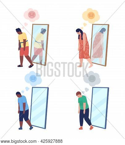 Obese Teenager Semi Flat Color Vector Character Set. Walking Figure. Full Body People On White. Teen