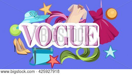 Composition of fashion equipment with vogue text on blue background. fashion and beauty accessories background pattern concept digital image.