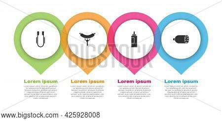 Set Meat Tongs, Sausage The Fork, Sauce Bottle And Salami Sausage. Business Infographic Template. Ve
