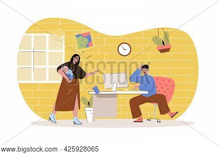 Remote Work Disadvantage Web Character Concept. Male Distant Worker Distracted By Wife With Baby, St