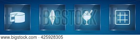 Set Cake, Ice Cream In Waffle Cone, Bowl And Waffle. Square Glass Panels. Vector