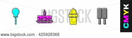 Set Lollipop, Cake With Burning Candles, Ice Cream Waffle Cone And Icon. Vector