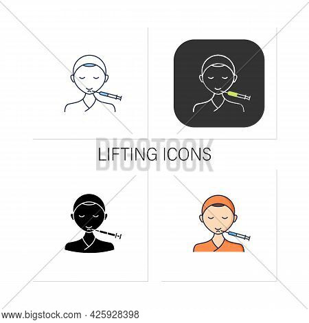 Cosmetic Injection Icons Set.injection In Chin. Lifting.rejuvenation. Full Syringe. Beauty Cosmetic