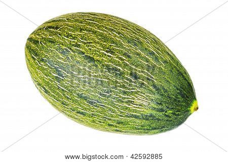Tropical Fruit, Green Melon. On A White Background.