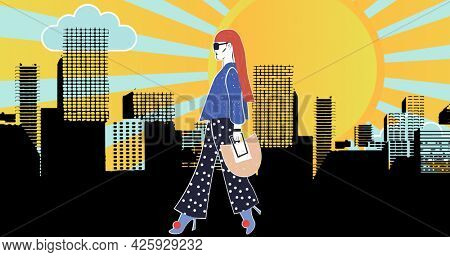 Composition of fashion drawing of model in city on yellow background. fashion design, fashion show and clothing concept digital image.