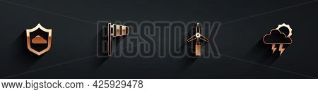 Set Weather Forecast, Cone Windsock Wind Vane, Wind Turbine And Storm Icon With Long Shadow. Vector