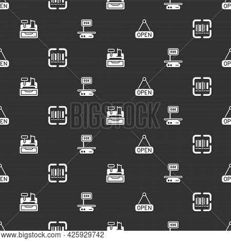 Set Hanging Sign With Open, Scanner Scanning Bar Code, Cash Register Machine And Electronic Scales O