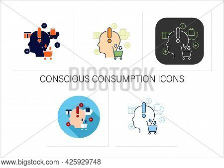 Conscious Consumption Icons Set. Thoughtful Shopping. Thoughtful Spending Money. Buying Necessary Th