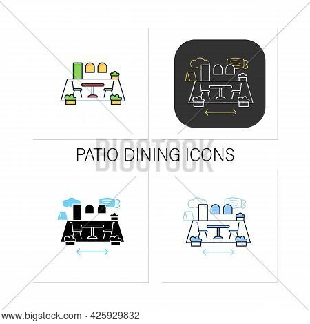 Patio Dining Icons Set.outdoor Dining Space. Forced Distance. Regulation Through Covid19. Restaurant
