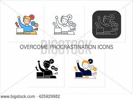 Overcome Procrastination Icons Set. Solve Work Problems. Fight Depression. Happy Person. Overload Co