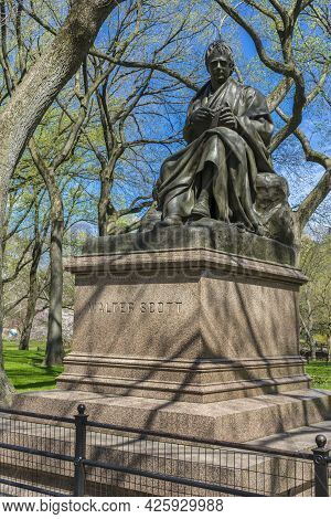 Sculpture Of Walter Scott In The Central Park Of Nyc