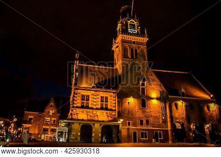 Alkmaar, The Netherlands. December 2020. The Waagplein At Dusk, Alkmaar, Holland. High Quality Photo