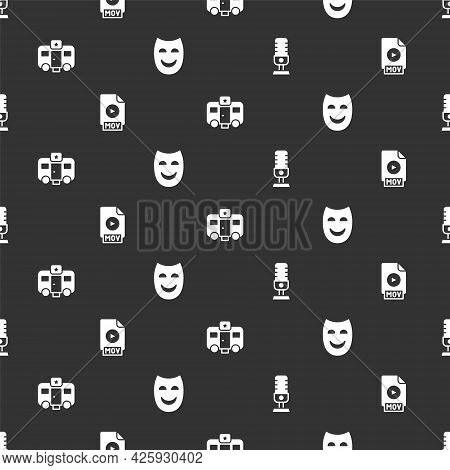 Set Microphone, Mov File Document, Actor Trailer And Comedy Theatrical Mask On Seamless Pattern. Vec