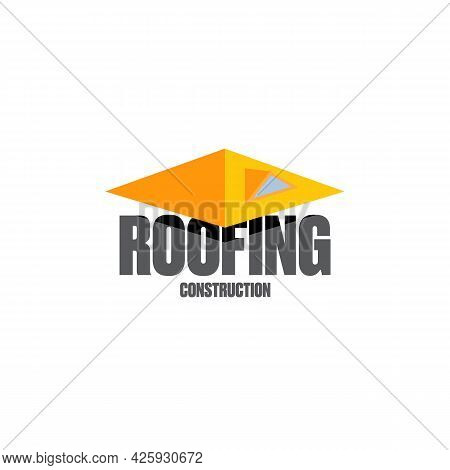 Roofing Construction Logo Design Template With Roof Top And Slogan Siolated On White Background. Vec