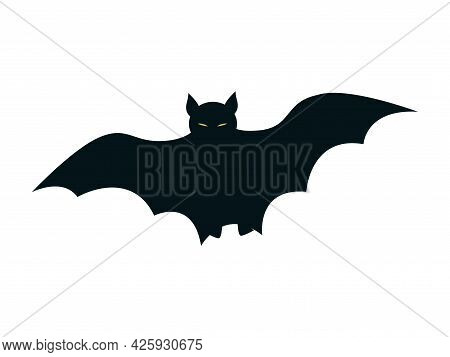 Black Silhouette Of A Bat. Outline Icon Isolated On White Background. Halloween Decor.