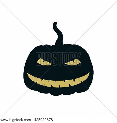 Halloween Pumpkin Icon Isolated On White Background. Contour Vector Illustration With Yellow Eyes An
