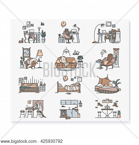 Blanket House Color Icons Set.kitchen, Living Room, Bedroom, Home Workplace Signs Collection.modern