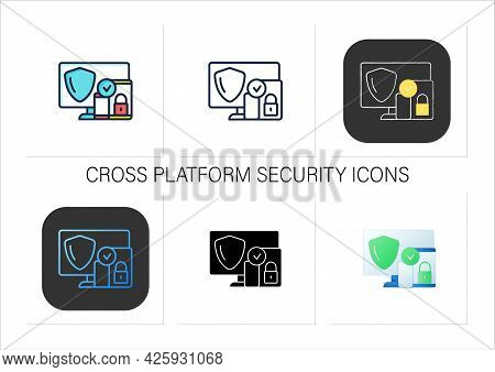 Cross Platform Security Icons Set. Protection Operation System In Multiple Devices. Safe Computer Da