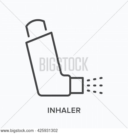 Inhaler Flat Line Icon. Vector Outline Illustration Of Respiratory Device. Black Thin Linear Pictogr