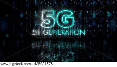 Image of flickering 5g 5th generation text over glowing numbers changing. global network connections and communication concept digitally generated image.