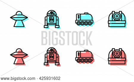 Set Line Mars Rover, Ufo Flying Spaceship, Robot And Astronomical Observatory Icon. Vector