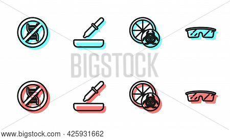 Set Line Genetically Modified Orange, Stop Gmo, Pipette And Laboratory Glasses Icon. Vector