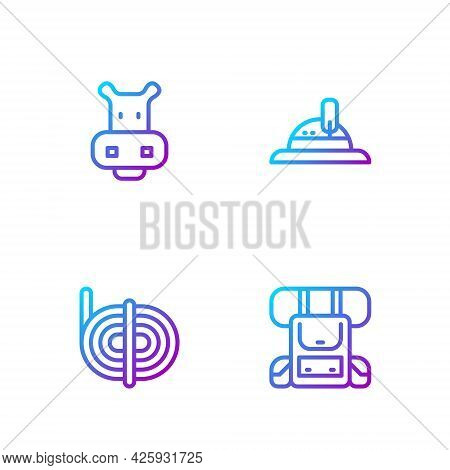Set Line Hiking Backpack, Climber Rope, Hippo Or Hippopotamus And Hunter Hat. Gradient Color Icons.