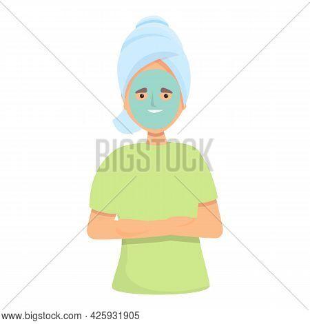 Girl Beauty Mask Icon Cartoon Vector. Facial Skin Care. Spa Woman Skincare