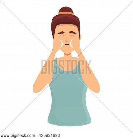 Girl Face Care Icon Cartoon Vector. Skin Beauty. Woman Facial Skincare