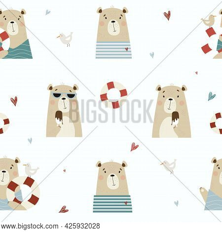 Seamless Pattern With Cute Bears. Funny Bears, Sailor With A Seagull And A Lifebuoy, In Sunglasses E