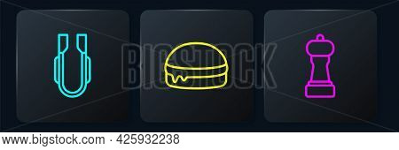 Set Line Meat Tongs, Pepper And Burger. Black Square Button. Vector