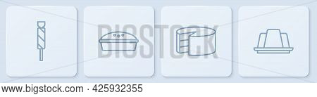 Set Line Candy, Cake, Homemade Pie And Jelly Cake. White Square Button. Vector
