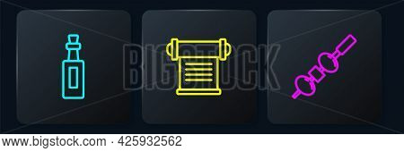 Set Line Bottle Of Olive Oil, Olive And Cheese On Chopstick And Decree, Parchment, Scroll. Black Squ