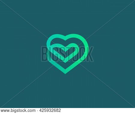 Linear Heart Loop Vector Icon Logo Design. Valentines Day, Medical, Health Vector Sign Logotype.