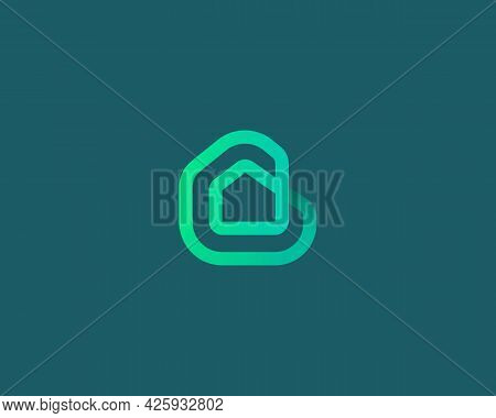 Linear House, Building Loop Vector Icon Logo Design Template. Minimalistic Linear Real Estate Proper