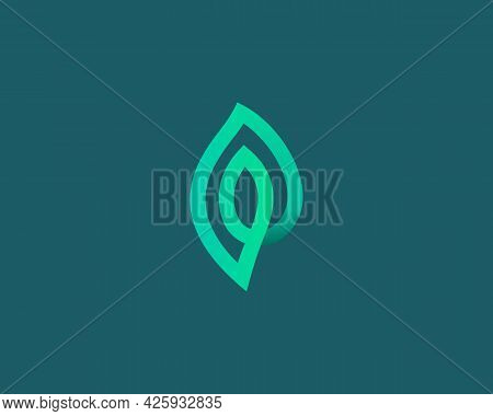 Linear Leaf Loop Vector Icon Logo Design Template. Minimalistic Linear Eco, Park, Garden Vector Sign