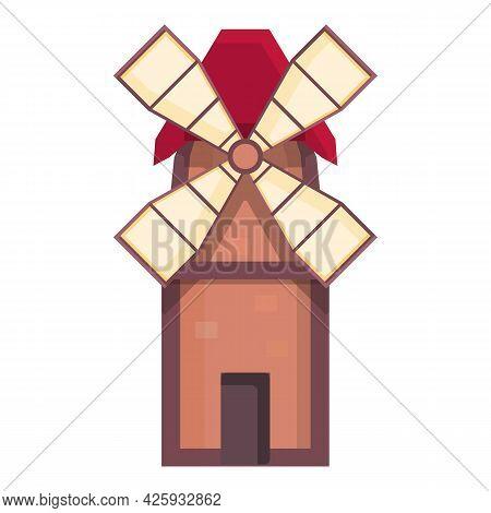 Medieval Mill Icon Cartoon Vector. Dutch Windmill. Game Village Mill