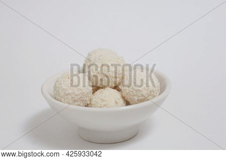 Coconut White Balls Candy, Gourmet Homemade Dessert, Close-up