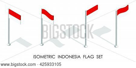 Isometric Flag Of Republic Of Indonesia In Static Position And In Motion On Flagpole. 3d Vector