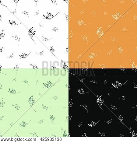 Set Of Seamless Patterns With Cereal Grass Leaves Silhouettes. Ornament For Decoration And Printing